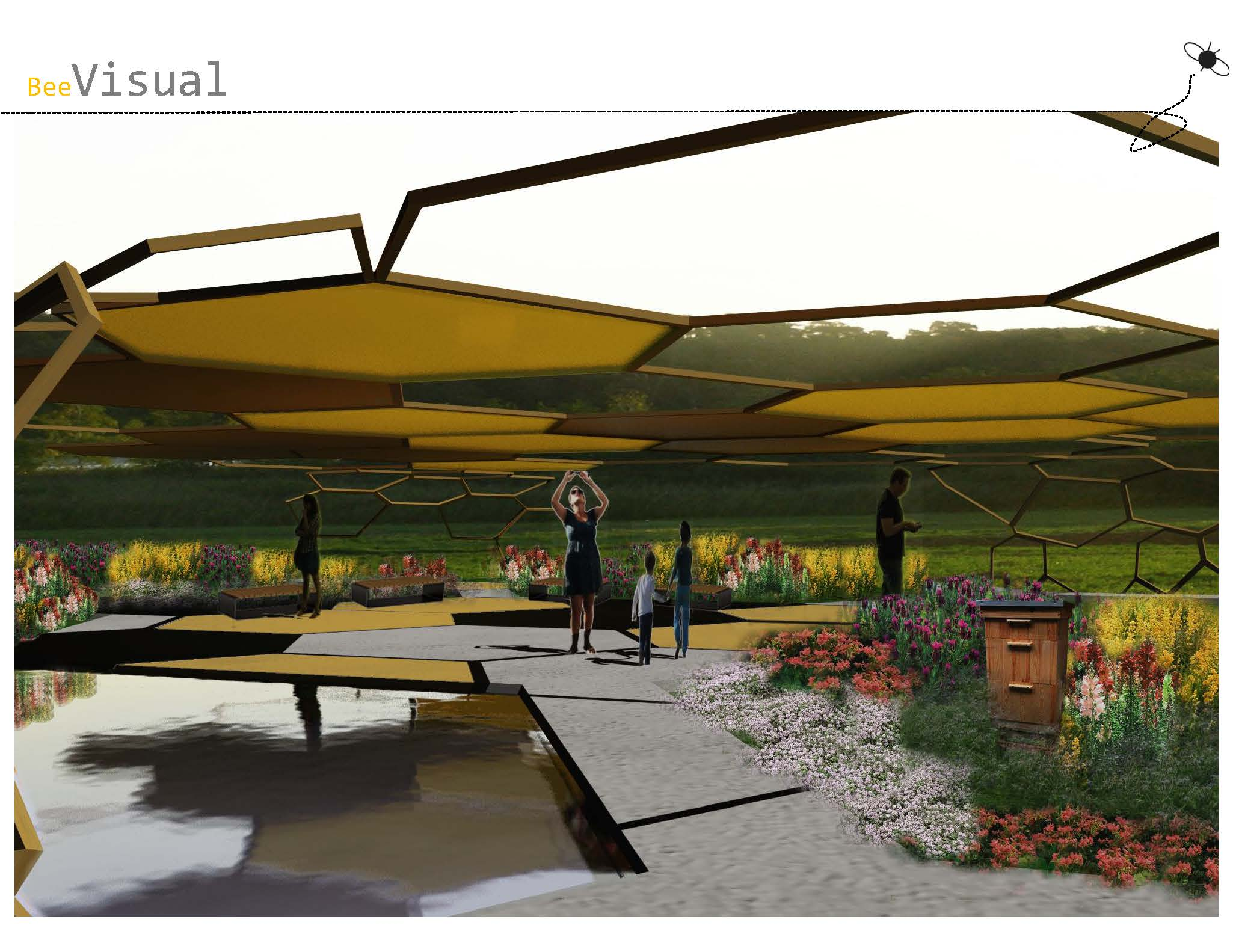 "the ""beBee pavilion"" designed by IMLA students Zuzanna Banaś and Irene Jackson Gil - Presentation page 9"
